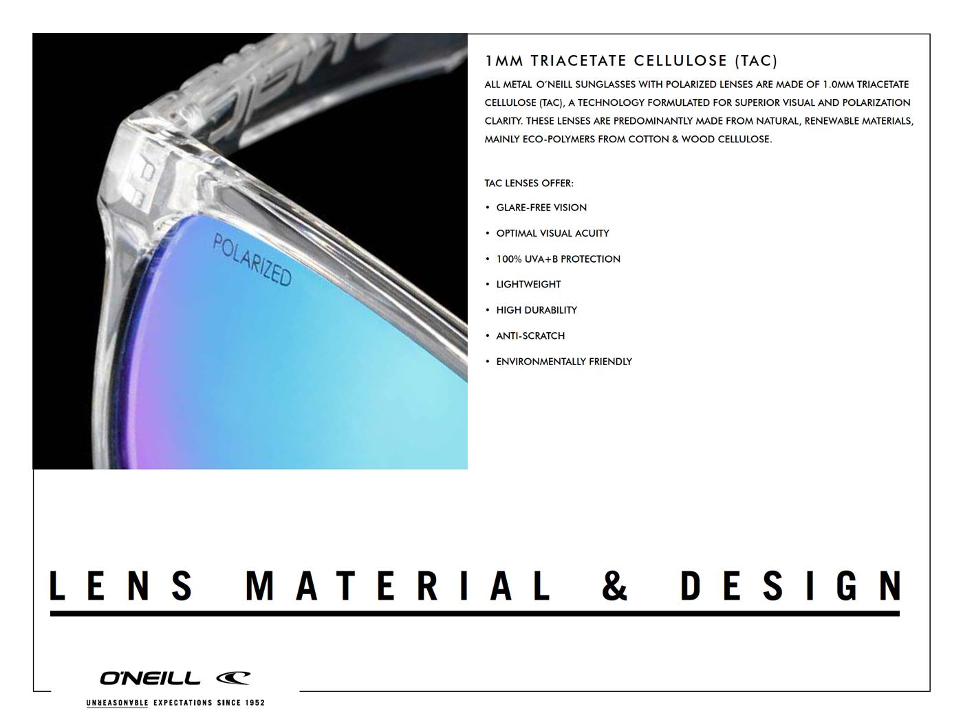O'Neill SunGlasses LENS MATERIAL & DESIGN