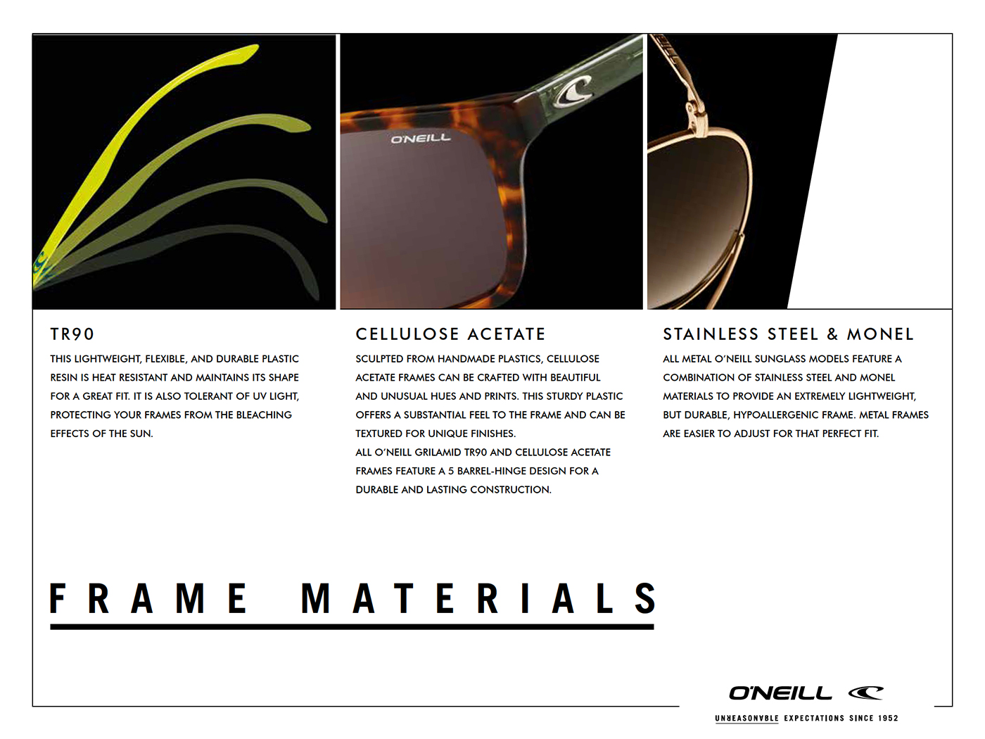 O'Neill Sunglasses FRAME MATERIALS